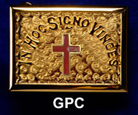 Gold Belt Buckle - Red Passion Cross