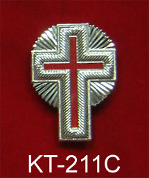 "2"" Silver Metal Cap Cross with Rays"