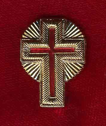 "1"" Gold Metal Passion Cross with Rays"