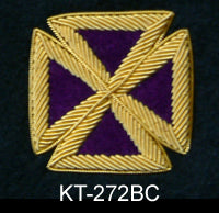 Purple Templar Cap Cross with Gold Bullion