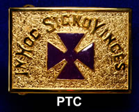 Gold Belt Buckle - Purple Templar Cross