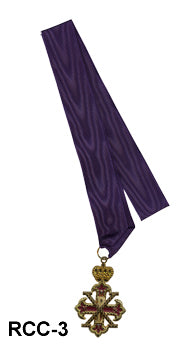 Sovereign/Past Sovereign Jewel on Purple Moire Ribbon Collar