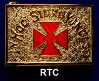 Gold Belt Buckle - Red Templar Cross
