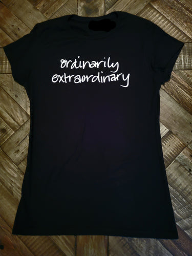 Born with greatness, talent, intelligence, abilities, strength, uniqueness, important, simply, Ordinarily Extraordinary. LuvEnlightens Exclusive/  Boyfriend Tee/ Fitted/ 100% Cotton/ Preshrunk
