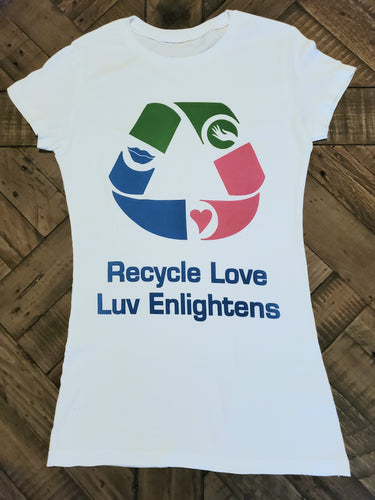 Recycle Love through your heart, mouth and hands, the portals of communication. Watch what your heart thinks and what your mouth speaks. Hands represent the ability to give and receive love. We can cause a climate change and positively affect the environment when we Recycle Love. LuvEnlightens Lifestyle Apparel Brand exclusive; limited edition. Boyfriend Tee/ Fitted/ 100% Cotton/ Preshrunk
