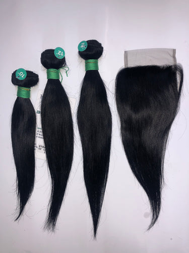 Tru Mink Brazilian Virgin Human Hair in Straight (3PC + 4x4 CLOSURE)