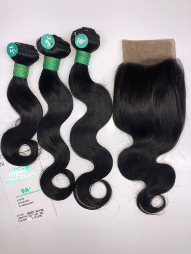 Tru Mink Brazilian Virgin Human Hair in Body Wave (3pc + 13x4 FRONTAL)