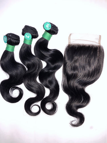 Tru Mink Brazilian Virgin Human Hair in Body Wave (3PC + 4x4 CLOSURE)
