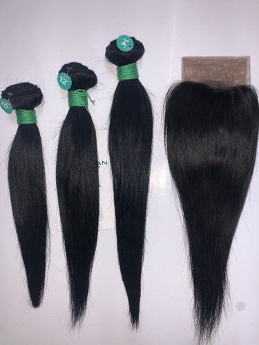 Tru Mink Brazilian Virgin Human Hair in Straight (3pc + 13x4 FRONTAL)