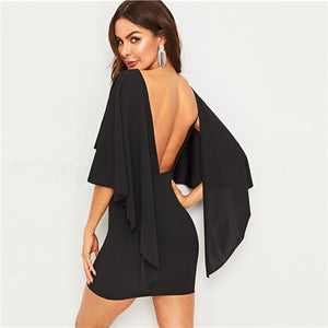 Sexy Open Back Cloak Sleeve Mini Party Dress