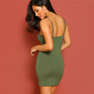 Green Ruched Form Fitting Mini Cami Day or Evening Dress