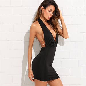 Low Cut Ultra Sexy Black Plunging V-Neck Halter Dress