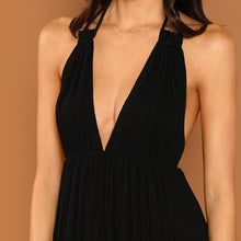 Sexy Black Plunging Halter V-Neck Girls Night Out Mini Party Dress