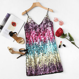 Fun Colorful Rainbow Sparkle and Glitter Sequin Party Cocktail Dress