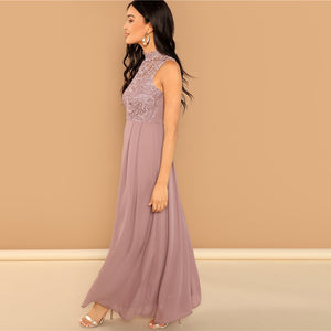 Elegant and Sweet Solid Overlay Bodice Vintage Sheer Cocktail Dress
