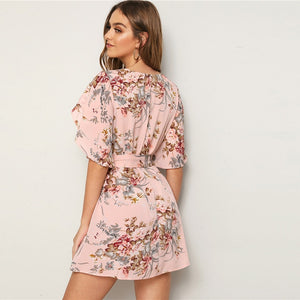 Soft Floral Pastel Pink Split Butterfly Sleeve Boho Vegas Summer Dress
