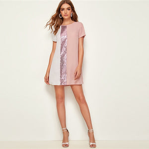 Fun & Flirty Baby Pink Sequin Detail Colorblock Short Tunic Casual Day Dress