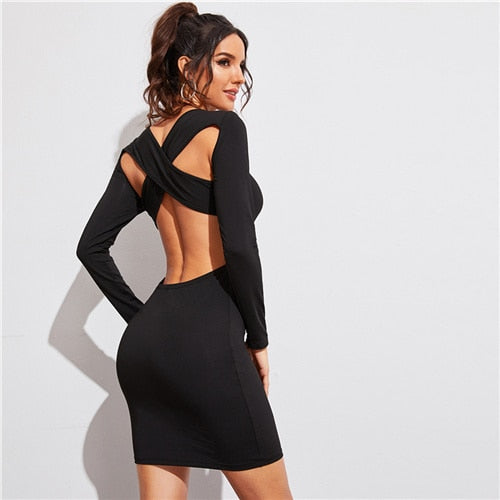 Sexy Open Black Long Sleeve Crisscross Bodycon Dress