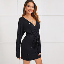 Black V Neck Long Sleeve Elegant Dress with Pearls