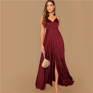 Classic Vegas Glam Satin Evening Cocktail Gown