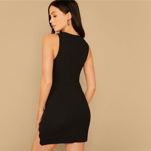 Black Scallop Trim V-Neck Fitted Mini Black Cocktail Dress