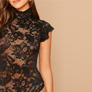 Black Tie Up Back Lace Sheer Stand Collar Bodysuit
