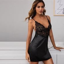 Sheer Sexy Black Satin Feel and Lace Babydoll Dress