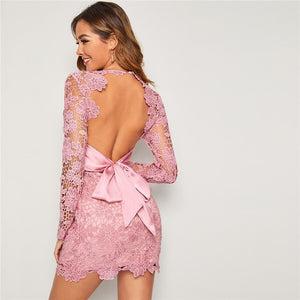 Romantic Baby Pink Long Sleeve Backless Lace Dress
