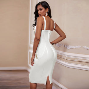 White Knee-Length V-Neck Bodycon Chain Embellished Bandage Cocktail Club Dress