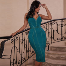Turquoise Green or Red Sexy Halter Backless Bandage Evening Cocktail Dress