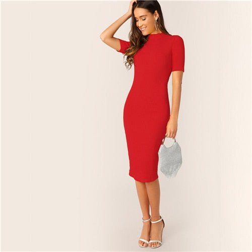Deep Red Mock-Neck Midi Slim Fitting Cocktail Dress