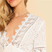 White Lace Embroidered Deep V Neck Casual Dress