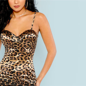 Sexy Slim Leopard Print Cami Strap Club Dress