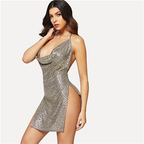Sexy High Slit Metallic Gray Backless Dress