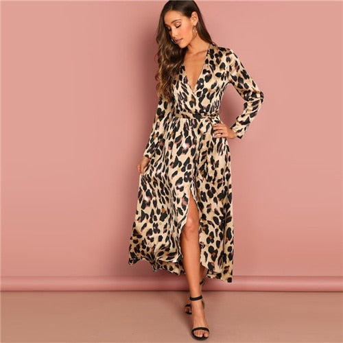 Satin Wrap V-Neck Long Sleeve Leopard Print Evening Cocktail Gown