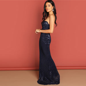 Elegant & Sexy Sequined Mesh Strapless Bodycon Evening Gown