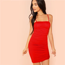 Red Ruched Spaghetti Strap Solid Cami Slip Dress