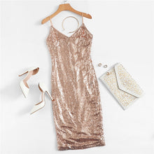 Baby Pink Sequin Cami Style Spaghetti Strap Sparkle Party Dress