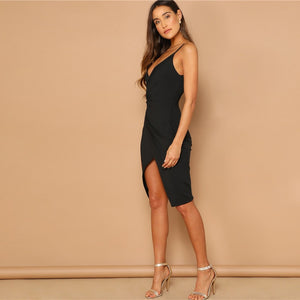 Sexy Strappy Little Black Cocktail Dress with Front Split