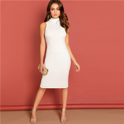 White Autumn Bodycon Stand Collar Elegant Style Midi Dress