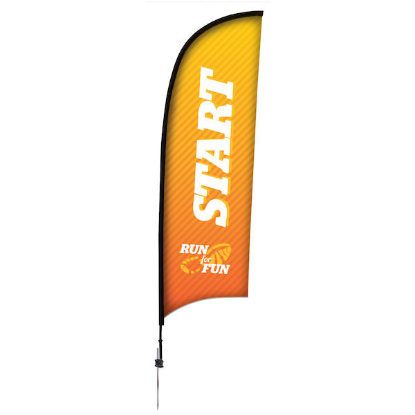 9' Premium Razor Sail Sign, 1-Sided, Ground Spike