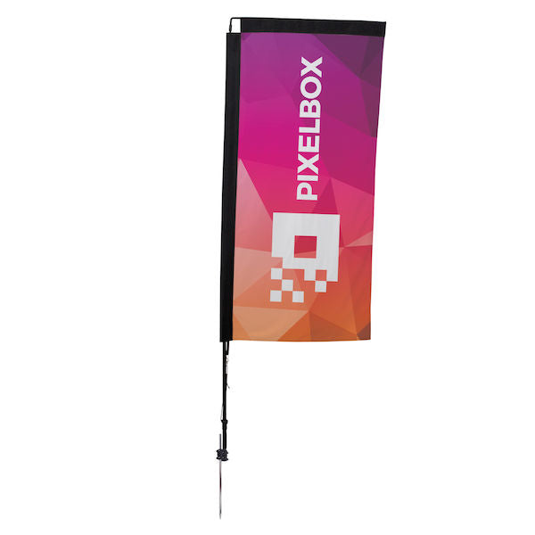 48-Hour Quick Ship 7' Premium Rectangle Sail Sign Kit (Single-Sided with Ground Spike)                     ...