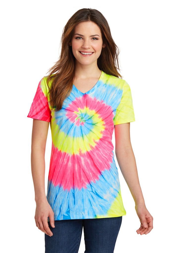 Port & Company Ladies Tie-Dye V-Neck Tee.  LPC147V
