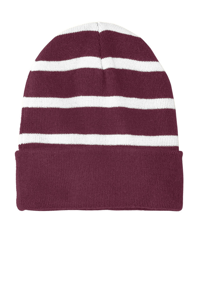 Sport-Tek Striped Beanie with Solid Band. STC31