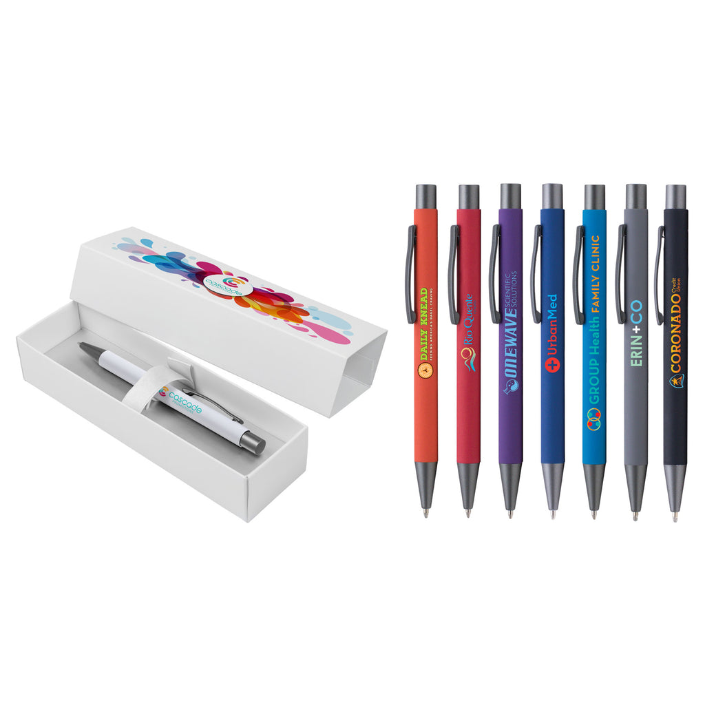 Plastic Pens Bowie Softy Gift Box - ColorJet on Pen and Box