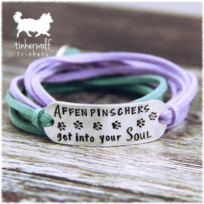 Affenpinschers get into your soul rounded bar wrap bracelet