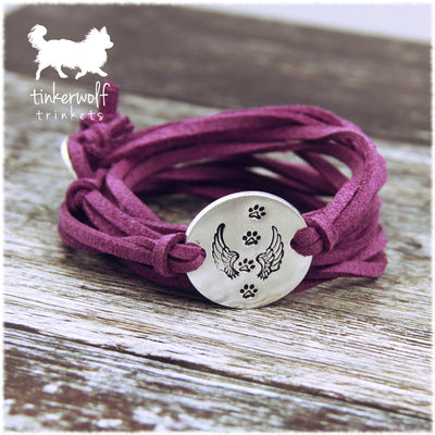 Angel wings and paws disc wrap bracelet