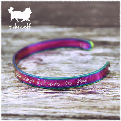 Believe in yourself rainbow stainless steel cuff