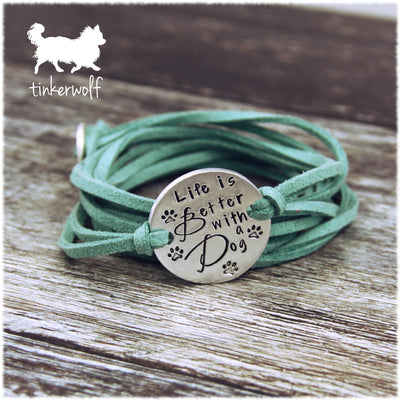 Life is better with a dog disc wrap bracelet