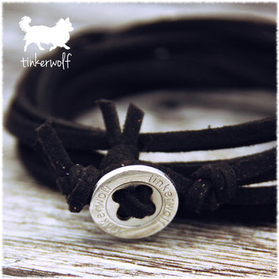 My dogs look at me and my heart smiles oval wrap bracelet